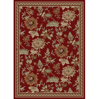 Royal Dark Red Floral Rug