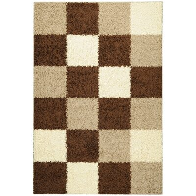 Ottomanson Ultimate Shaggy Brown Checkered Rug