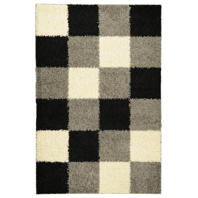 Ottomanson Ultimate Shaggy Black Checkered Rug