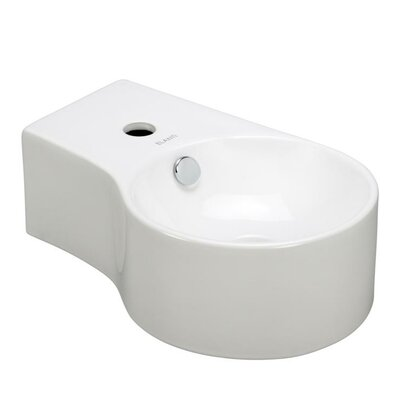 Porcelain Round Wall Mounted Deep Bowl Right Facing Sink - EC9849-R