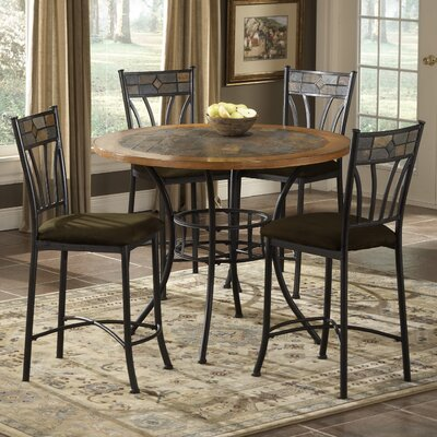 Bernards Rock Wood / Stone Counter Height Pub Table Set