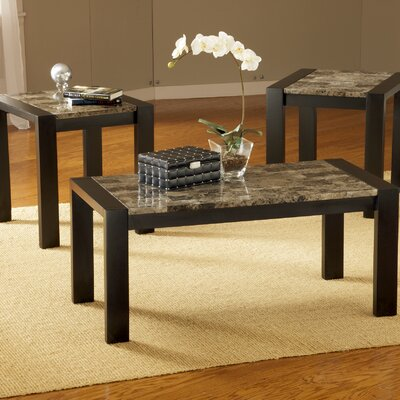 Bernards Faux Marble 3 Piece Coffee Table Set Amp Reviews