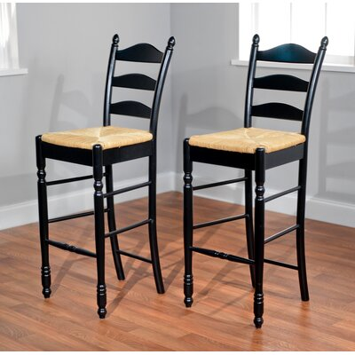 "TMS 30"" Ladder Back Stool in Black (Set of 2)"