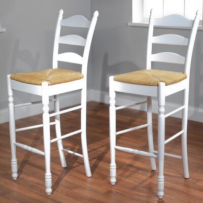 "TMS 30"" Ladder Back Stool in White (Set of 2)"