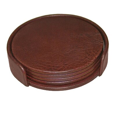 Dacasso 1000 Series Classic Leather Four Round Coasters with Holder in Mocha