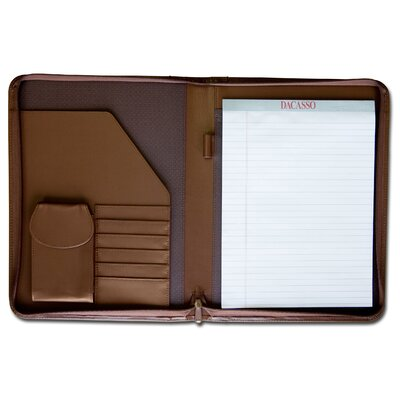 Dacasso Leather Portfolios Top-Grain Deluxe Zip-Around Padfolio in Chocolate
