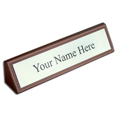 3200 Series Leather Name Plate in Rustic Brown