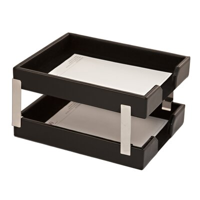 Dacasso Double Econo-Line Leather Letter Trays