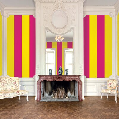 WallCandy Arts Stripe Wallpaper in Raspberry and Mango