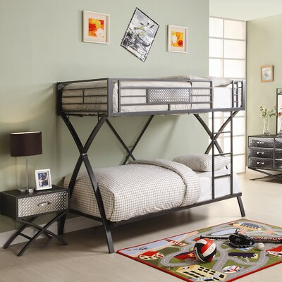 Woodbridge Home Designs Spaced Out Chrome Bunk Bed with Built-In Ladder