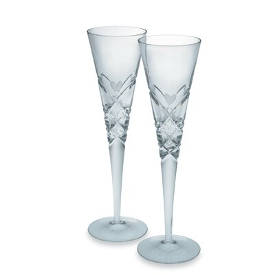 Crystal Heart Champagne Flute Glass Pair