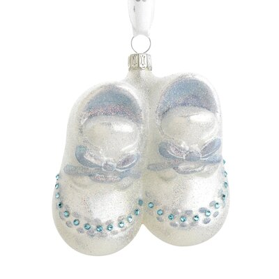 Baby Boy Booties Blown Glass Ornament