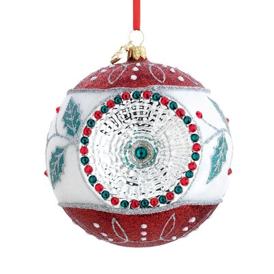 Holly Reflector Blown Glass Ornament