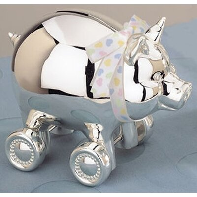 """Reed & Barton Children's Giftware 4.25"""" x 5.13"""" Piggy with Wheels Bank"""