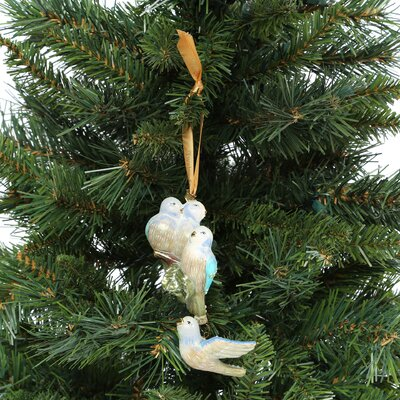 European Handmade Glass Blown Ornaments Four Calling Birds