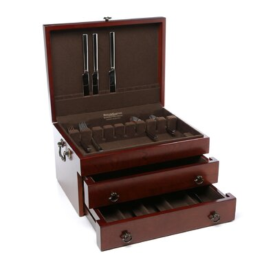 Reed & Barton Bristol Grande Mahogany Silverware Chest with Brown
