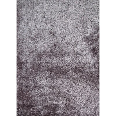 Shaggy Viscose Solid Gray Rug