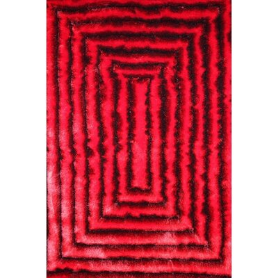 3D Shag Red/Black Rug