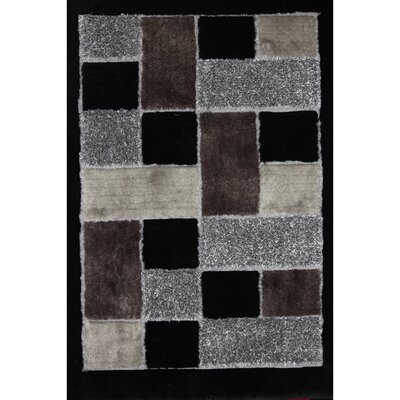 Shaggy Viscose Design Black Rug