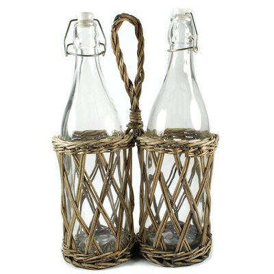 Two Place Wicker Bottle Holder with Bottles