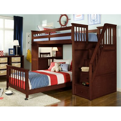 ne kids school house l shaped bunk bed with desk and stairs