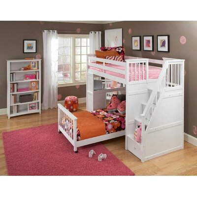 ne kids school house stair loft bed with desk end