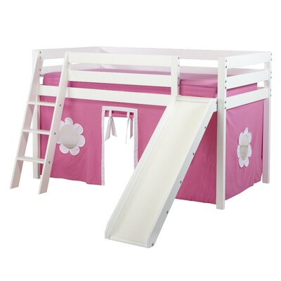 Twin Low Loft Bed With Angled Ladder Slide And Curtain