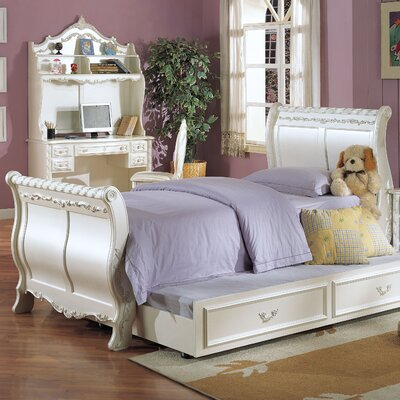 Wildon Home ® Pearl Sleigh Bed with Trundle in Pearl White