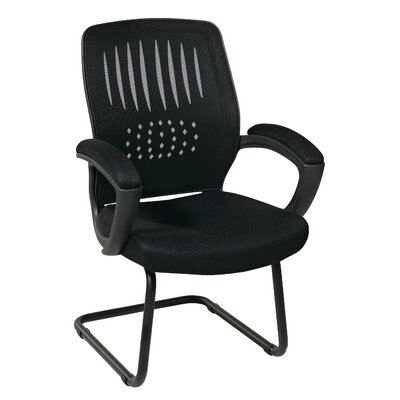 OSP Designs Screen Back Contour Shell Sled Base Visitor Chair with Padded Arms