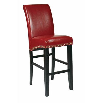 "OSP Designs Bonded Leather 30"" Parsons Bar Stool with Nail Head Accents"