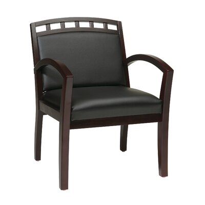 OSP Designs Leg Chair with Black Faux Leather Seat and Wood Crown Back
