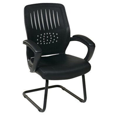 OSP Designs Screen Back Contour Shell Sled Base Visitor Chair with Mesh Seat and Padded Arms