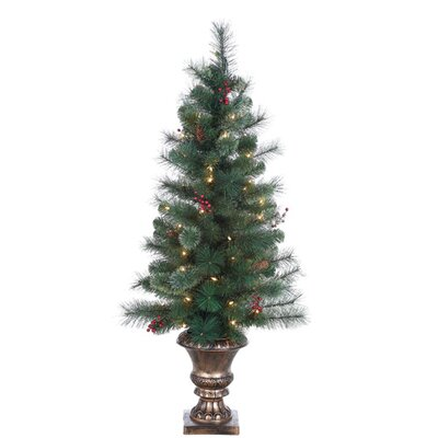 4' Green Hard Needle Lodge Berry Pine Christmas Tree with 70 Clear Lights with Pot ...