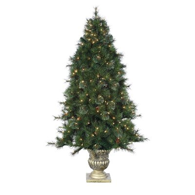 6' Green Hard Needle Dover Pine Christmas Tree with 300 Clear Lights with Pot and ...
