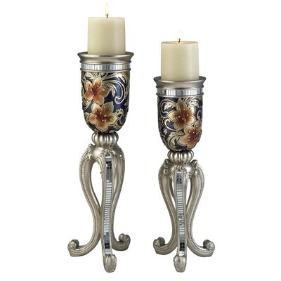 ORE Furniture Cherry Blossoms 2 Piece Candle Holder Set