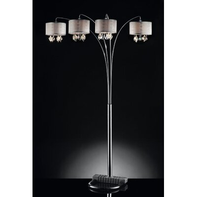 ORE Furniture Drape Crystal 4 Light Arch Lamp