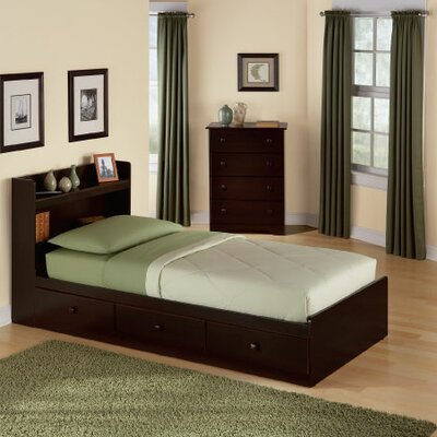 New Visions by Lane My Space, My Place Storage Twin Bed in Dark Walnut