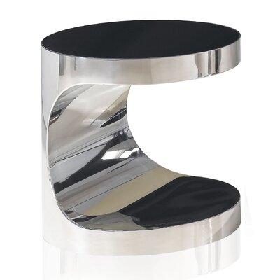 By Designs Polished Stainless Steel Side Table with Dark Tempered Glass Top