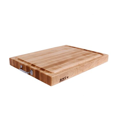 John Boos BoosBlock Reversible Maple Cutting Board with Stainless Steel Handles