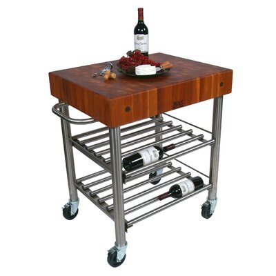 cucina americana kitchen cart with butcher block top wayfair