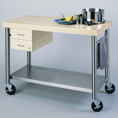 Cucina Americana Magnifico Kitchen Cart with Wood Top