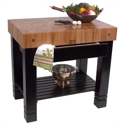 Rouge et Noir Bloc De Foyer Prep Table with Butcher Block Top