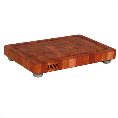 John Boos BoosBlock Cherry Butcher Block Cutting Board with Stainless Steel Feet