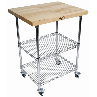 John Boos Gray Rouge et Noir Metro Wire Kitchen Cart with Wood Top