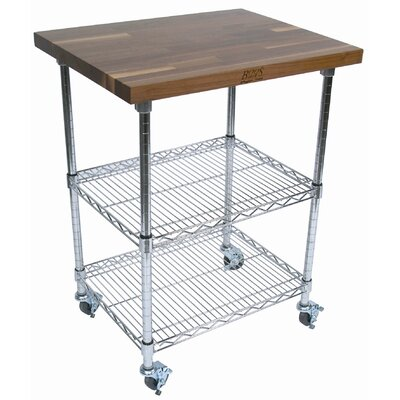 John Boos Rouge et Noir Metro Kitchen Cart with Wood Top