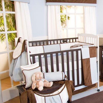 Brandee Danielle Blue Chocolate 4 Piece Crib Bedding Set