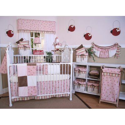 Brandee Danielle Pink Ladybugs and Dragonflies 4 Piece Crib Bedding Set