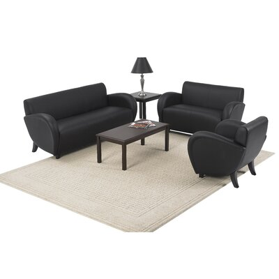 OSP Furniture Eleganza Black Eco Leather Reception Set