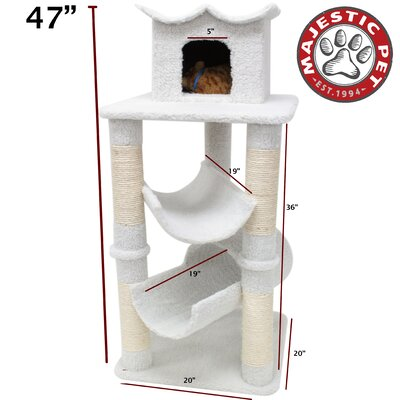 "Majestic Pet Products 47"" Bungalow Sherpa Cat Tree"