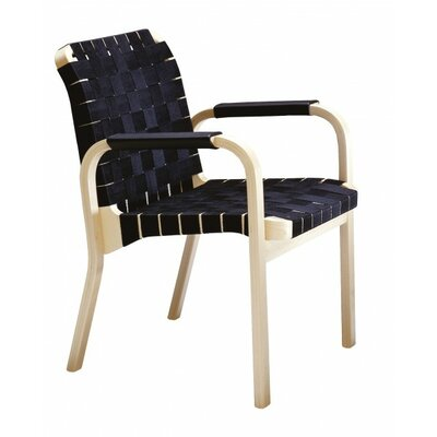 Artek 45 Arm Chair with Black Leather Arm Windings